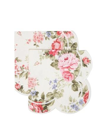 Scalloped Floral-Print Cotton Napkins (Set Of 2)