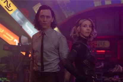 Tom Hiddleston as Loki and Sophia Di Martino as Sylvie in lighting that celebrates their sexuality