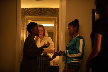 Janicza Bravo (left) on set with Riley Keough and Taylour Paige for Zola. Photo courtesy of A24.