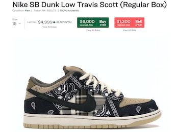 StockX listing for Nike SB Dunk Low Travis Scott (Regular Box)
