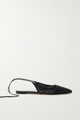 Woven Leather Point-Toe Flats