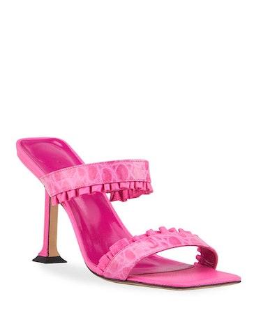 Pina Mock-Croc Ruffle Slide Heel Sandals