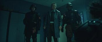 Owen Wilson and TVA agents in Roxxcart in Loki Episode 2