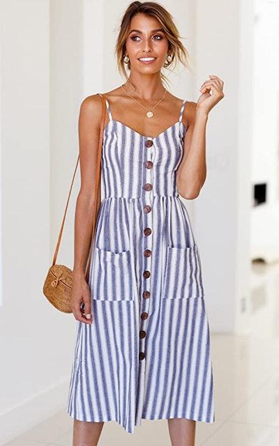 Angashion Button Down Swing Midi Dress