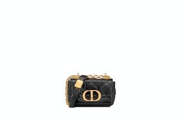 Micro Dior Caro Bag In Black Supple Cannage Calfskin