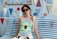 Artist Simone Noa Hedal wears a halter top from House of Sunny.