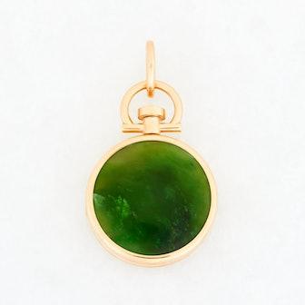 Nephrite Jade Locket 18K Yellow Gold