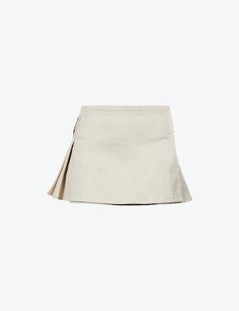 Madison High-Waist Cotton-Blend Mini Skirt