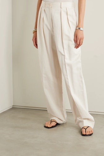 Igor Pleated Cotton And Linen-Blend Twill Wide-Leg Pants