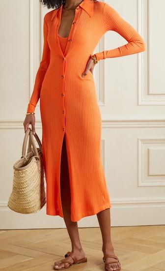 Elisha ribbed-knit midi shirt dress