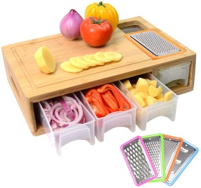 Comellow Bamboo Cutting Board with Containers, Lids, and Graters