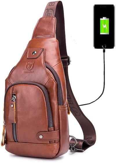 BULLCAPTAIN Leather Sling Backpack