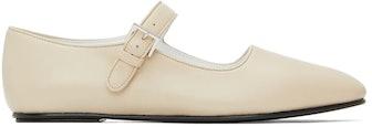 Beige Ava Leather Ballerina Flats