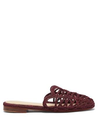 Raffy IV Raffia Backless Loafers
