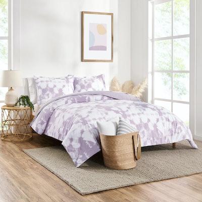 Tie Dye Reversible Organic Cotton Blend Comforter Set, King