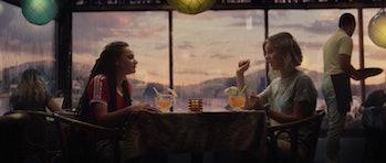 Sasha Lane and Sophia Di Martino at a margarita bar in Loki Episode 3