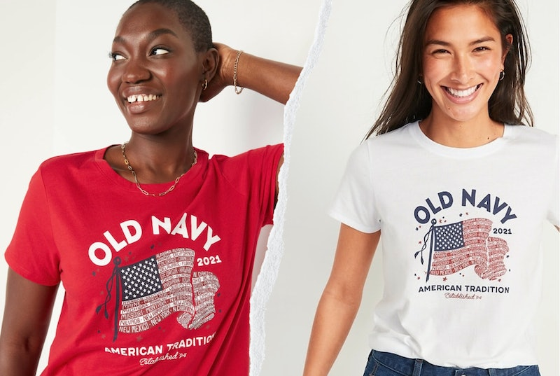 The Old Navy flag tee 2021 is back and tied to a great cause this year: celebrating and supporting American immigrants.