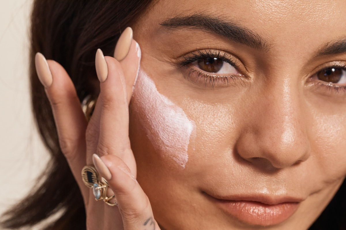 Vanessa Hudgens applying some of her and Madison Beer's Know Beauty moisturizer on.