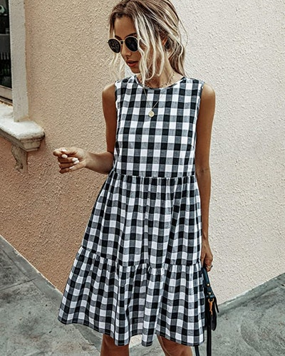 ECOWISH Plaid Sleeveless Dress