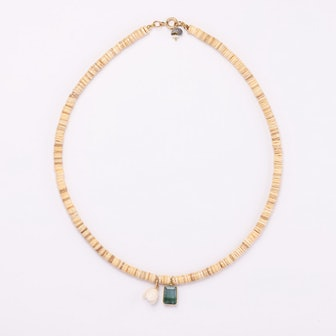 Shell, Tourmaline, & Coral Necklace