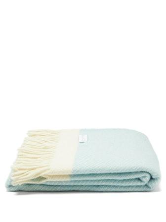 Chevron-Stripe Fringe Wool Picnic Blanket