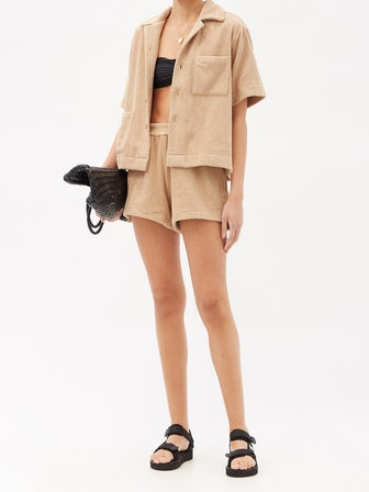 Boxy Cotton Terry-Toweling Shirt
