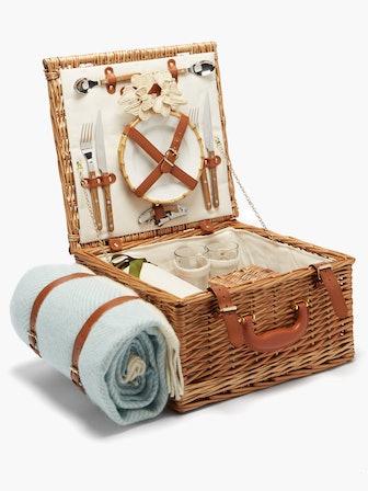 Wool Blanket And Wicker Picnic Basket Set