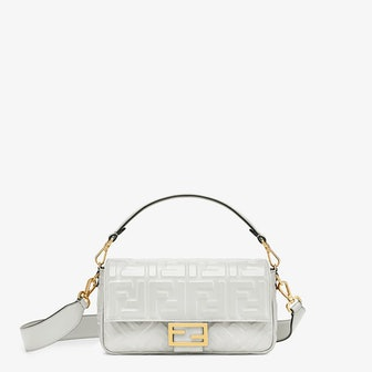 White Leather Baguette Bag