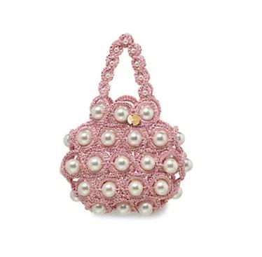 Hana Faux Pearl & Raffia Top Handle Bag