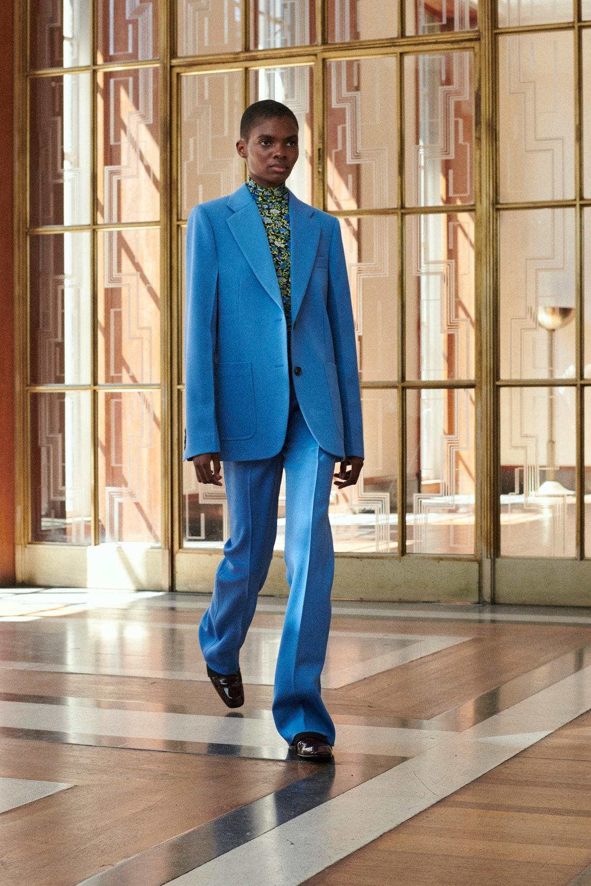 Model in blue suit