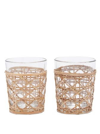 Raffia-Sleeve Glasses (Set Of 2)