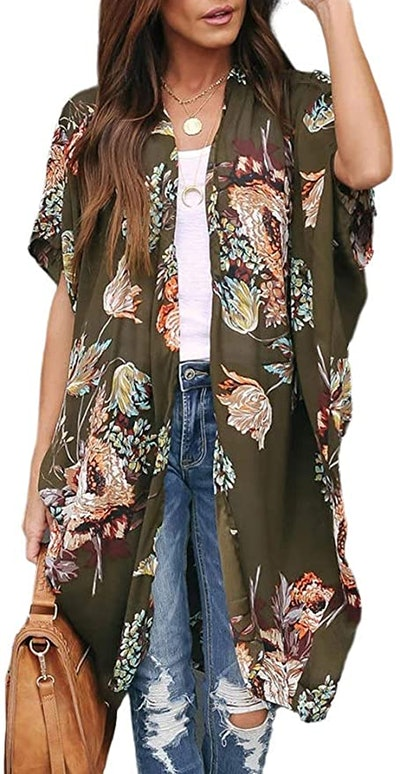 Ivay Womens Floral Kimono Duster