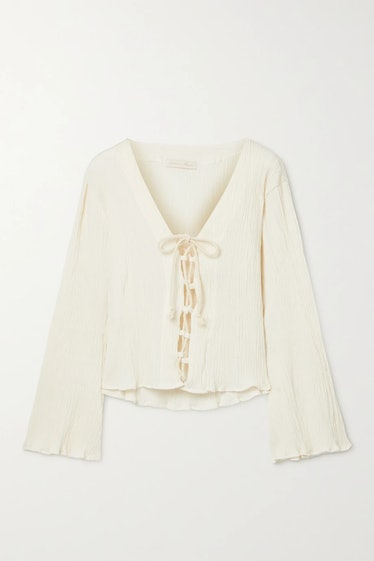 Amey Lace-Up Crinkled Organic Cotton-Gauze Top