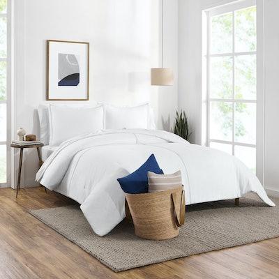 Washed Denim Reversible Organic Cotton Comforter Set, Full/Queen