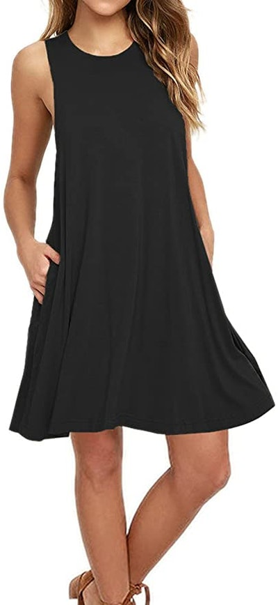 AUSELILY Casual T Shirt Dress
