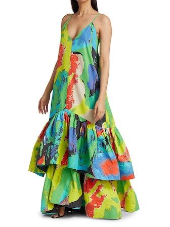 Tiered Ruffled Slip Maxi Dress