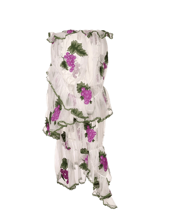 Embroideried Grape Ruched Skirt