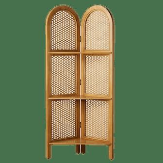 "67"" Anza Caned Corner Bookshelf Brown"