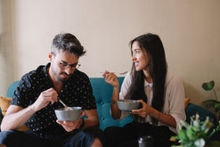 couple eating out of bowls