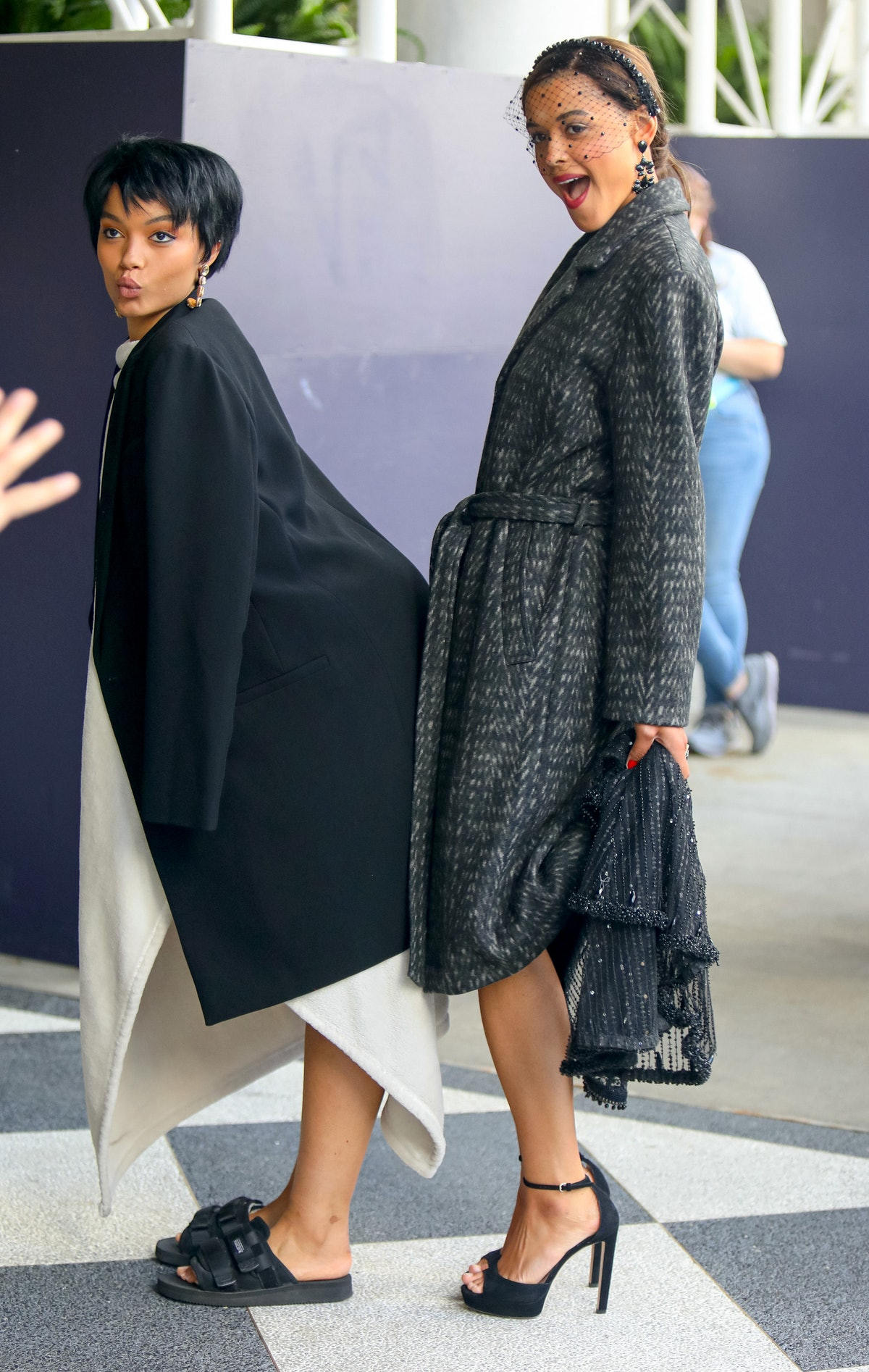 Whitney Peak and Jordan Alexander on the set of the Gossip Girl reboot