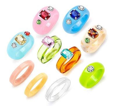 Sobly Resin Acrylic Ring Set (15 Pieces)