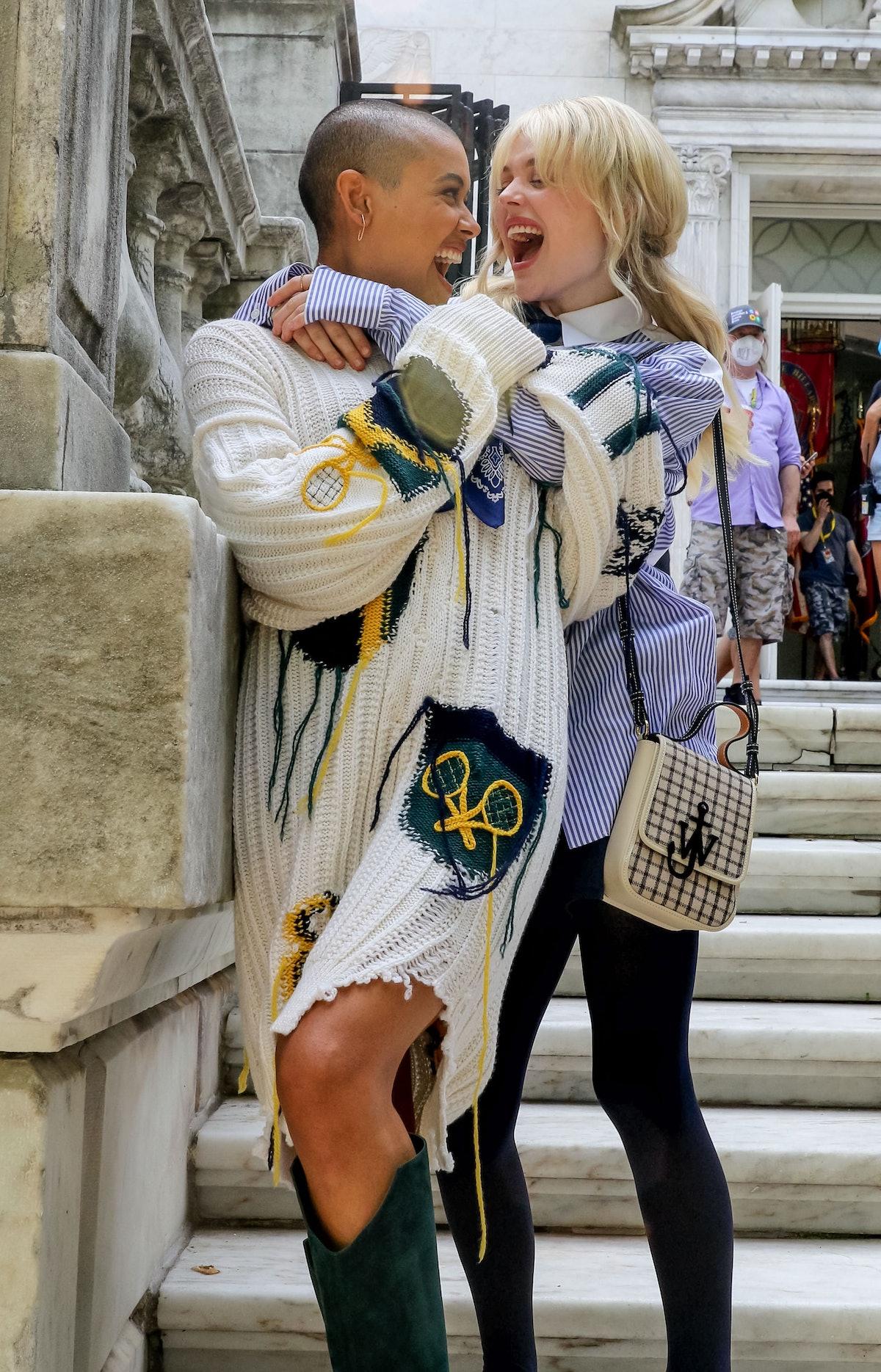 Emily Alyn Lind and Jordan Alexander on the set of the Gossip Girl reboot