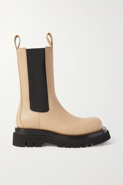 Lug Rubber-Trimmed Leather Chelsea Boots