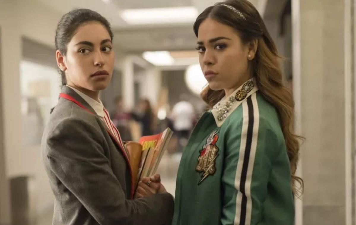 "Mina El Hammani and Danna Paola in ""Elite."""