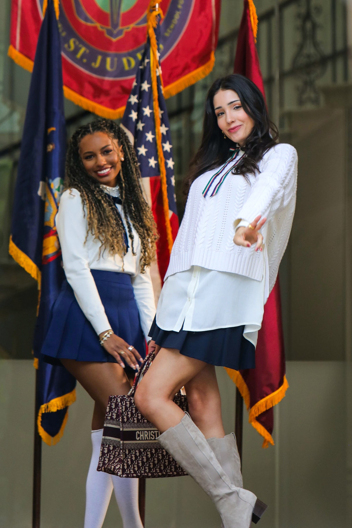 Savannah Smith and Zion Moreno on the set of the Gossip Girl reboot