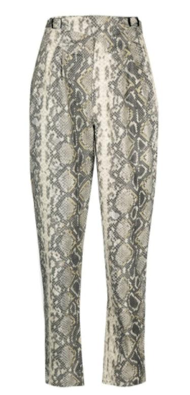 Snakeskin-Print High-Waisted Trousers