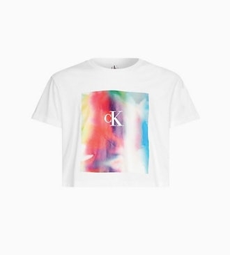 Calvin Klein Pride Logo Box Crewneck Cropped T-Shirt
