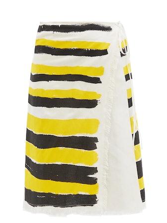 Brushstroke Stripe Print Wrap Skirt