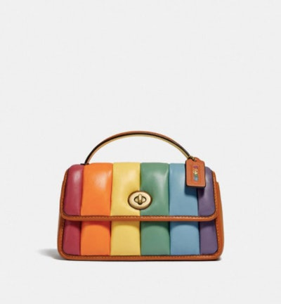 Coach Turnlock Clutch 20 With Rainbow Quilting