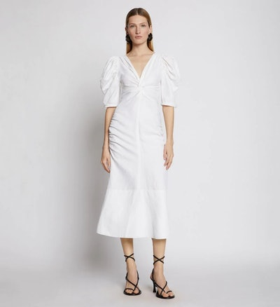 Linen Viscose Shirred Sleeve Dress